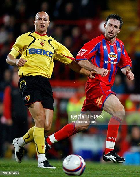 Dougie Freedman of Crystal Palace and Gavin Mahon of Watford in action during the Crystal Palace and Watford Championship match at Selhurst Park...