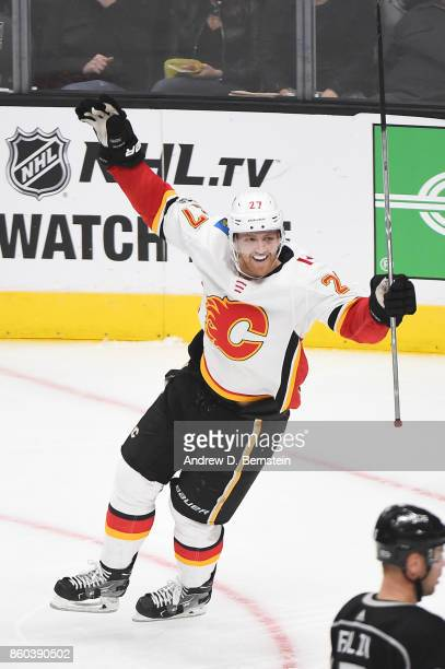 Dougie Hamilton of the Calgary Flames celebrates a goal against the Los Angeles Kings at STAPLES Center on October 11 2017 in Los Angeles California