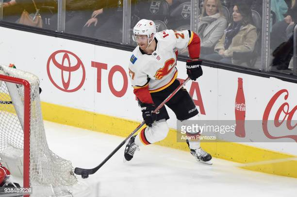 Dougie Hamilton of the Calgary Flames handles the puck during a game against the Los Angeles Kings at STAPLES Center on March 26 2018 in Los Angeles...