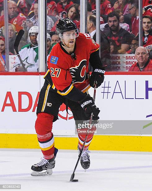Dougie Hamilton of the Calgary Flames in action against the Dallas Stars during an NHL game at Scotiabank Saddledome on November 10 2016 in Calgary...