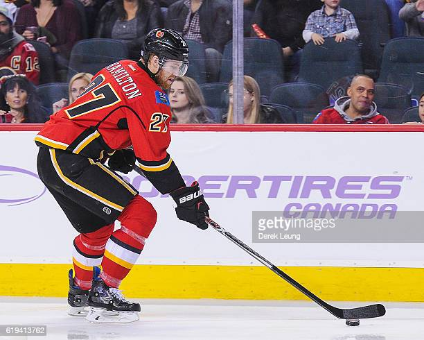 Dougie Hamilton of the Calgary Flames in action against the Ottawa Senators during an NHL game at Scotiabank Saddledome on October 28 2016 in Calgary...