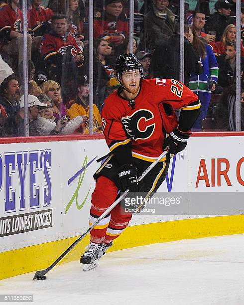 Dougie Hamilton of the Calgary Flames in action against the Vancouver Canucks during an NHL game at Scotiabank Saddledome on February 19 2016 in...