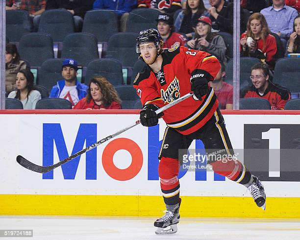 Dougie Hamilton of the Calgary Flames in action against the Vancouver Canucks during an NHL game at Scotiabank Saddledome on April 7 2016 in Calgary...