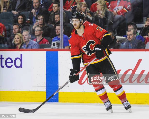 Dougie Hamilton of the Calgary Flames in action against the Vancouver Canucks during an NHL game at Scotiabank Saddledome on December 9 2017 in...