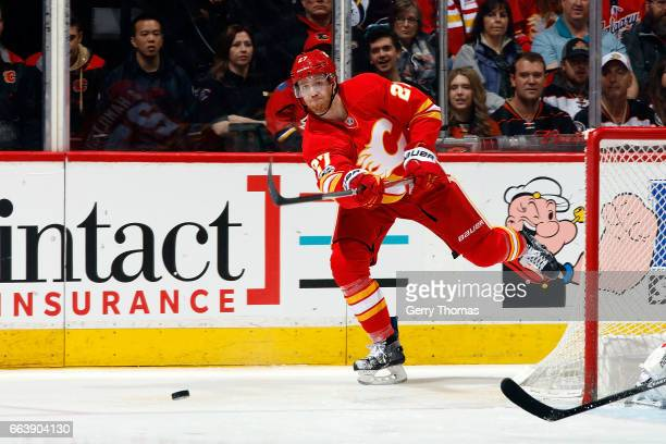 Dougie Hamilton of the Calgary Flames skates against the Anaheim Ducks during an NHL game on April 2 2017 at the Scotiabank Saddledome in Calgary...