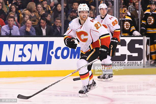 Dougie Hamilton of the Calgary Flames skates against the Boston Bruins at the TD Garden on March 1 2016 in Boston Massachusetts