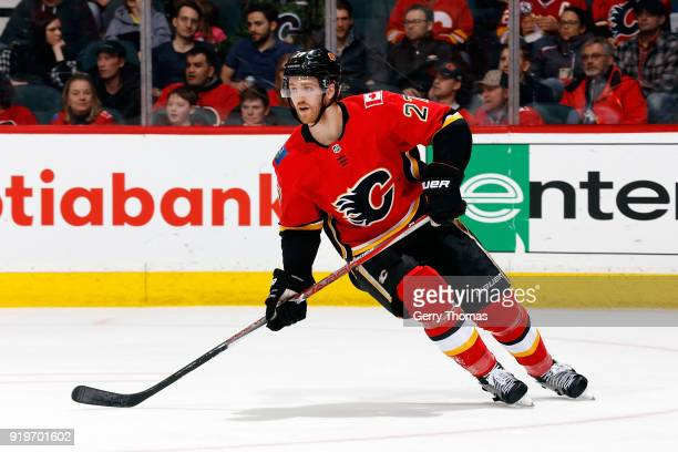 Dougie Hamilton of the Calgary Flames skates against the Florida Panthers during an NHL game on February 17 2018 at the Scotiabank Saddledome in...