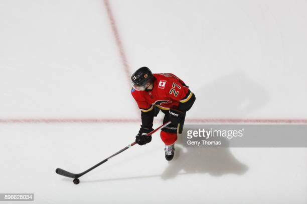 Dougie Hamilton of the Calgary Flames skates against the Nashville Predators during an NHL game on December 16 2017 at the Scotiabank Saddledome in...