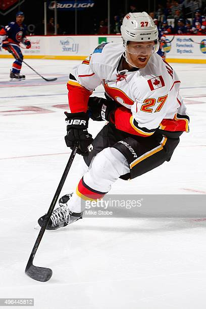 Dougie Hamilton of the Calgary Flames skates against the New York Islanders at the Barclays Center on October 26 2015 in Brooklyn borough of New York...