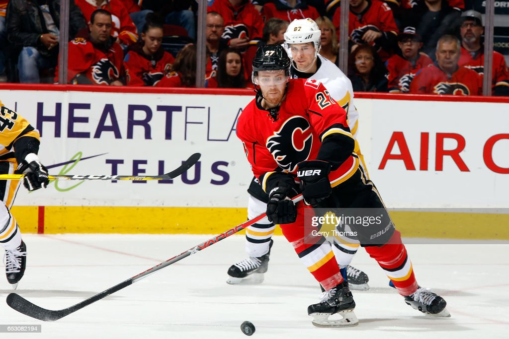 Dougie Hamilton #27 of the Calgary Flames skates against the Pittsburgh Penguins during an NHL game on March 13, 2017 at the Scotiabank Saddledome in Calgary, Alberta, Canada.
