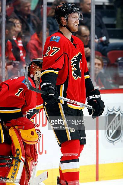 Dougie Hamilton of the Calgary Flames skates in the warmup before an NHL game against the Los Angeles Kings at Scotiabank Saddledome on December 31...
