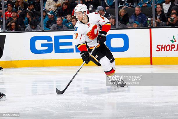 Dougie Hamilton of the Calgary Flames skates with control of the puck against the San Jose Sharks at SAP Center on November 28 2015 in San Jose...