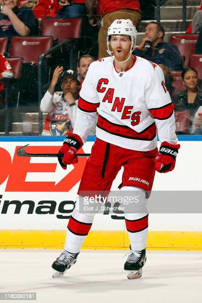 Dougie Hamilton of the Carolina Hurricanes celebrates his goal against the Florida Panthers at the BBT Center on October 8 2019 in Sunrise Florida