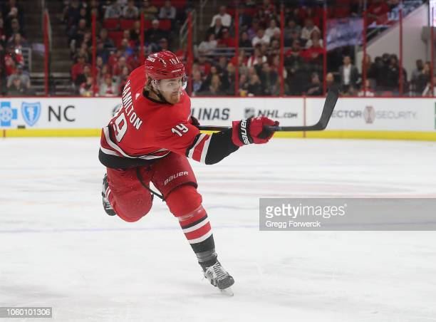 Dougie Hamilton of the Carolina Hurricanes fires a slapshot during an NHL game against the Detroit Red Wings on November 10 2018 at PNC Arena in...