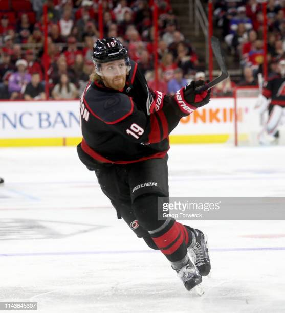 Dougie Hamilton of the Carolina Hurricanes shoots the puck in Game Four of the Eastern Conference First Round against the Washington Capitals during...