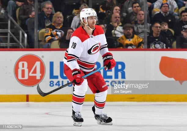 Dougie Hamilton of the Carolina Hurricanes skates against the Pittsburgh Penguins at PPG Paints Arena on March 31 2019 in Pittsburgh Pennsylvania