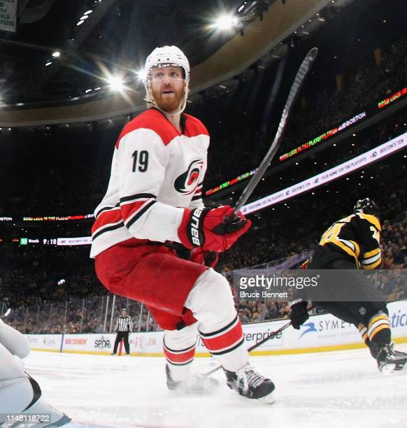 Dougie Hamilton of the Carolina Hurricanes skates against the Boston Bruins in Game One of the Eastern Conference Final during the 2019 NHL Stanley...