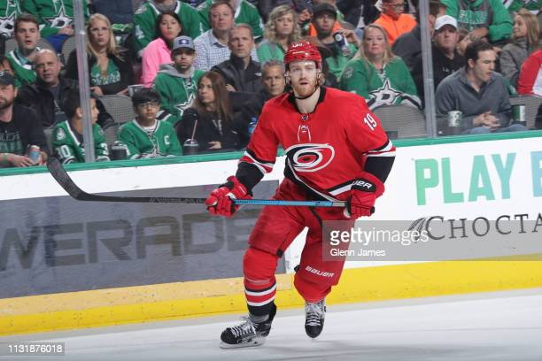 Dougie Hamilton of the Carolina Hurricanes skates against the Dallas Stars at the American Airlines Center on February 23 2019 in Dallas Texas