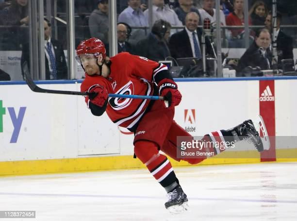 Dougie Hamilton of the Carolina Hurricanes skates against the New York Rangers at Madison Square Garden on February 08 2019 in New York City The...