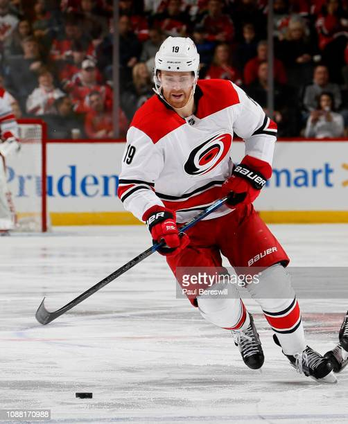 Dougie Hamilton of the Carolina Hurricanes skates during an NHL hockey game against the New Jersey Devils on December 29 2018 at the Prudential...