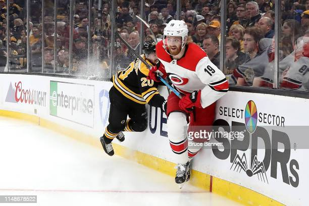 Dougie Hamilton of the Carolina Hurricanes skates during the first period against the Boston Bruins in Game Two of the Eastern Conference Final...