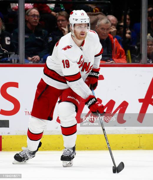 Dougie Hamilton of the Carolina Hurricanes skates up ice during their NHL game against the Vancouver Canucks at Rogers Arena December 12 2019 in...