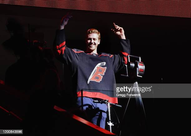 Dougie Hamilton of the Carolina Hurricanes sounds the siren prior to an NHL game against the New Jersey Devils on February 14 2020 at PNC Arena in...