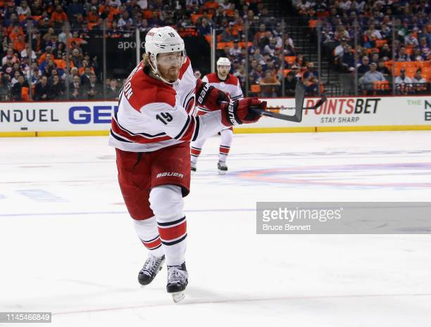Dougie Hamilton of the Carolina Hurricanes takes a slapshot against the New York Islanders in Game One of the Eastern Conference Second Round during...