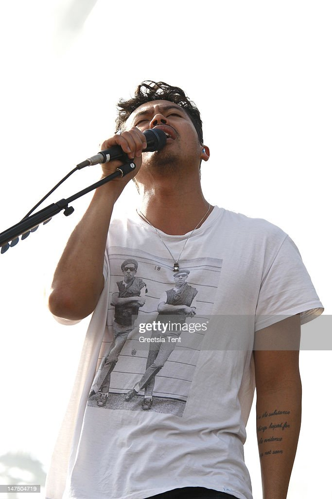 Dougie Mandagi of The Temper Trap performs during the at