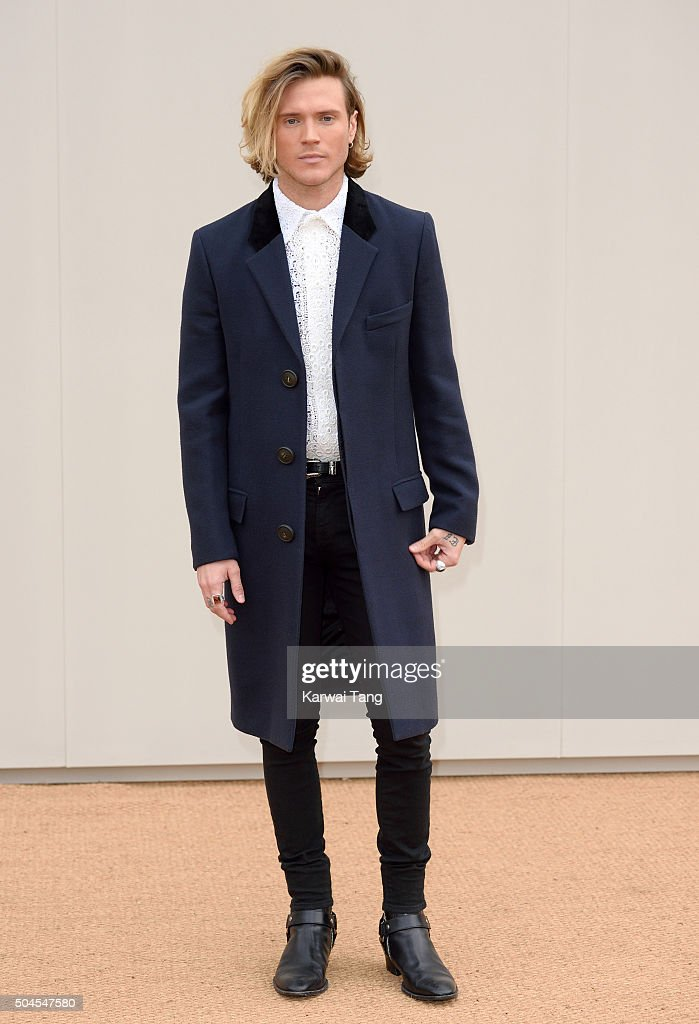 Dougie Poynter attends the Burberry show during The London Collections Men AW16 at Kensington Gardens on January 11, 2016 in London, England.