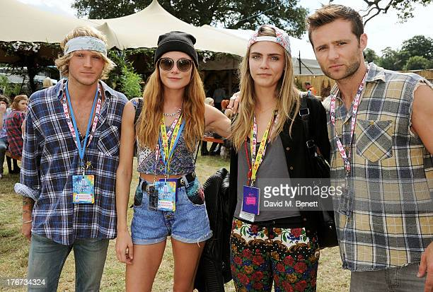 Dougie Poynter Clara Paget Cara Delevingne and Harry Judd attend the Mahiki Coconut Backstage Bar during day 2 of V Festival 2013 at Hylands Park on...