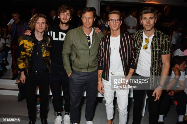 Dougie Poynter Cody Saintgnue Paul Sculfor Oliver Proudlock and Darren Kennedy attend the What We Wear show during London Fashion Week Men's June...