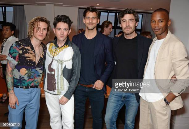 Dougie Poynter Daniel W Fletcher Johannes Huebl Robert Konjic and Eric Underwood attend the London Fashion Week Men's cocktail party with DANIEL w...