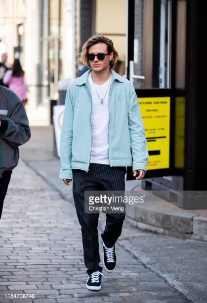 Dougie Poynter is seen outside Iceberg during London Fashion Week Men's June 2019 on June 08 2019 in London England