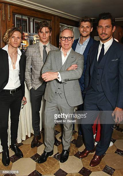 Dougie Poynter Oliver Cheshire Tommy Hilfiger Jim Chapman and David Gandy attend a dinner hosted by Tommy Hilfiger and Dylan Jones to celebrate...