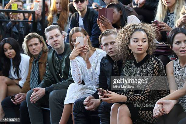 Dougie Poynter Professor Green Millie Mackintosh Lewi Morgan and Ella Eyre attends the Julien MacDonald show during London Fashion Week Spring/Summer...