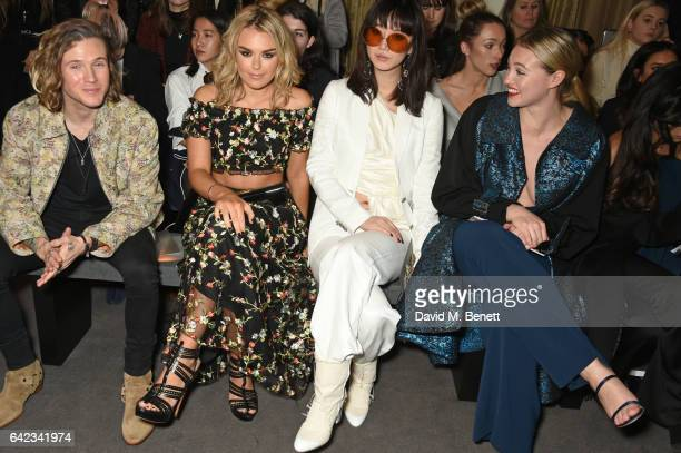 Dougie Poynter Tallia Storm Betty Bachz and Iskra Lawrence attend the DAKS show at the Langham Hotel during the London Fashion Week February 2017...