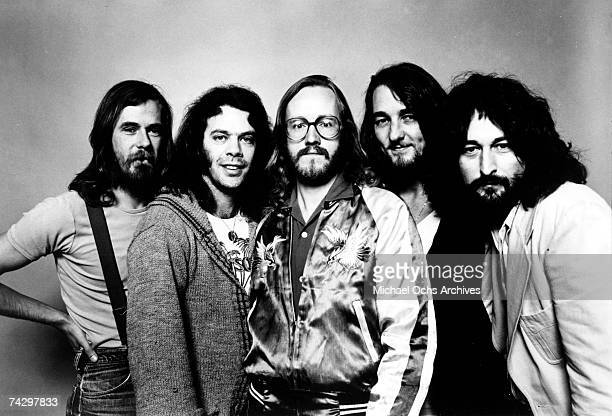 Dougie Thomson Bob C Benberg John A Helliwell Roger Hodgson and Rick Davies of the rock band 'Supertramp' pose for a portrait in circa 1975