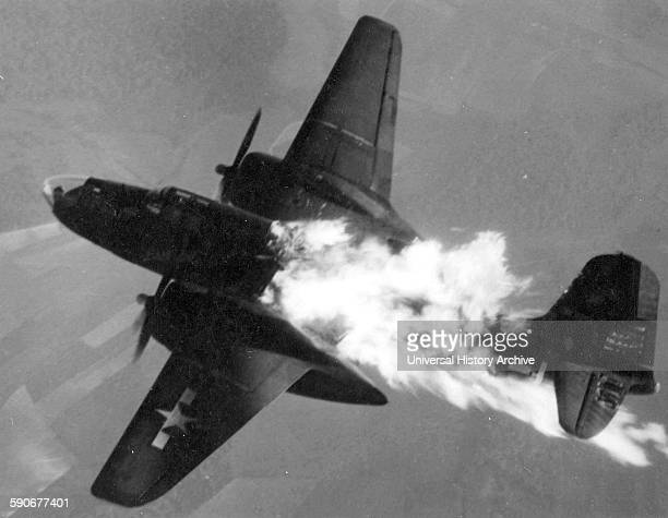 Douglas A20J10DO of the 409th or 416th Bomb Group after being hit by flak over Germany 1944