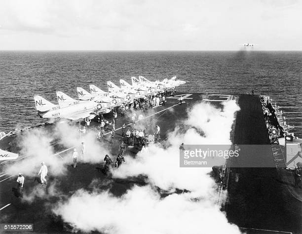 A Douglas A3D Skywarrior takes off for a bombing mission from the deck of the USS Coral Sea in the Tonkin Gulf during the Vietnam War | Location...
