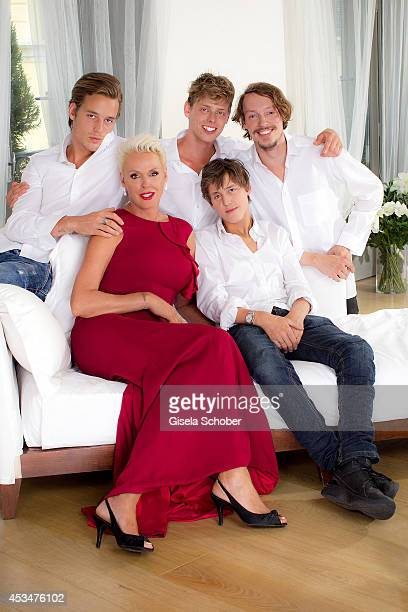Douglas Aaron Meyer Brigitte Nielsen Kilian Marcus Nielsen Raoul Ayrton Meyer Jr and Julian Winding pose during a portrait session on July 6 2014 in...