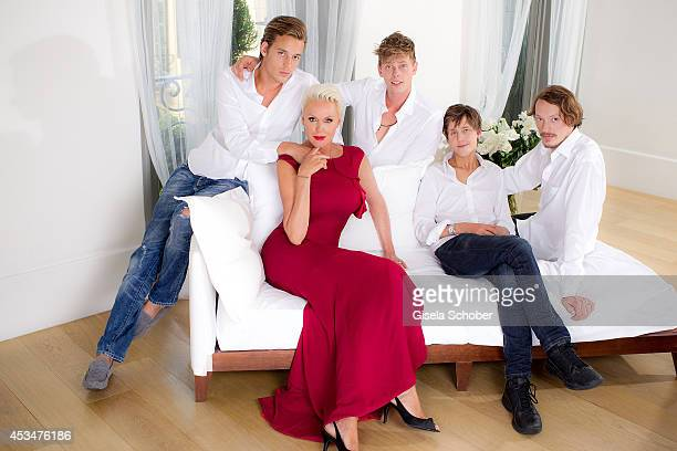 Douglas Aaron Meyer Kilian Marcus Nielsen Julian Winding Brigitte Nielsen and her son Raoul Ayrton Meyer Jr pose during a Portrait Session on July 6...