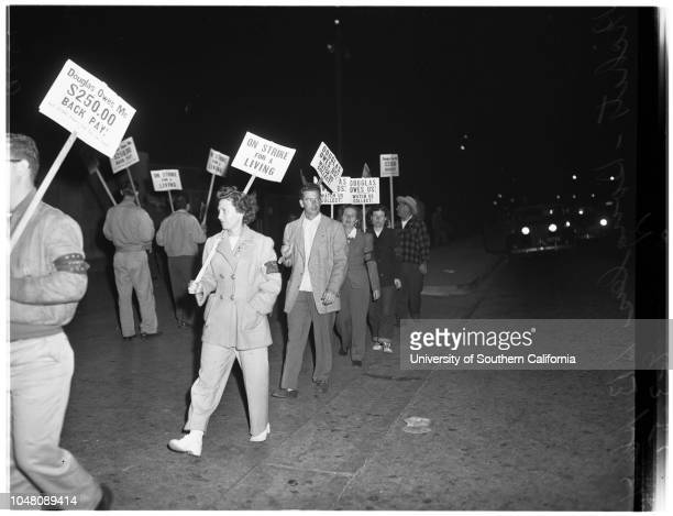 Douglas Aircraft Company strike pickets 5 September 1951 After 10000 workers went out on strikeMrs Adelle Mazzurco 24 yearsTony MazzurcoBetty Murphy...