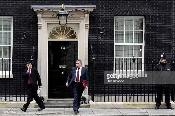 Douglas Alexander the Secretary of State for International Development and Communities Secretary John Denham leave Number 10 Downing Street after the...
