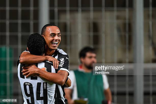 Douglas and Dodo of Atletico MG celebrates a scored goal against Flamengo during a match between Atletico MG and Flamengo as part of Brasileirao...