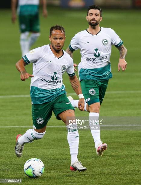 Douglas Baggio and Daniel Bessa of Goias run with the ball during the match between Palmeiras and Goias as part of the 2020 Brasileirao Series A at...