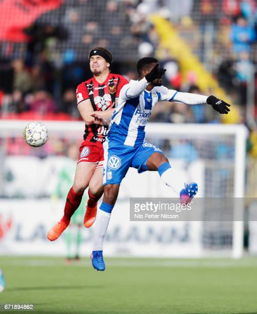 Douglas Bergqvist of Ostersunds FK and Abdul Razak of IFK Goteborg competes for the ball during the Allsvenskan match between Ostersunds FK and IFK...
