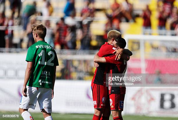 Douglas Bergqvist of Ostersunds FK and Brwa Nouri of Ostersunds FK celebrates after the victory as Jesper Svensson of Jonkopings Sodra is dejected...