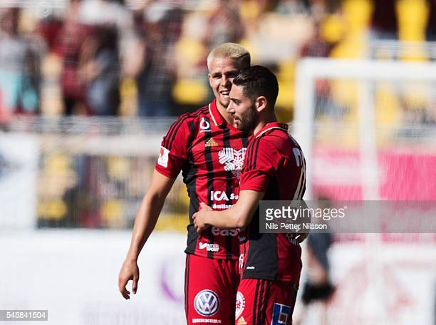 Douglas Bergqvist of Ostersunds FK and Brwa Nouri of Ostersunds FK celebrates after the victory during the allsvenskan match between Ostersunds FK...