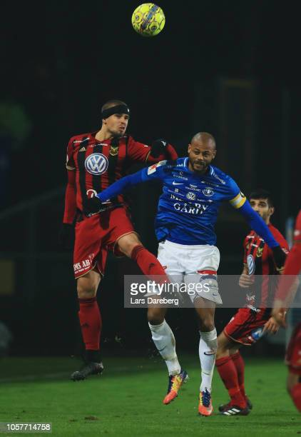 Douglas Bergqvist of Ostersunds FK and Salif Camara Jonsson of Trelleborgs FF competes for the ball during the Allsvenskan match between Trelleborgs...